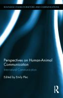 Perspectives on human-animal communication internatural communication /