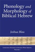 Phonology and morphology of Biblical Hebrew : an introduction /
