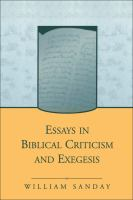 Essays in biblical criticism and exegesis /